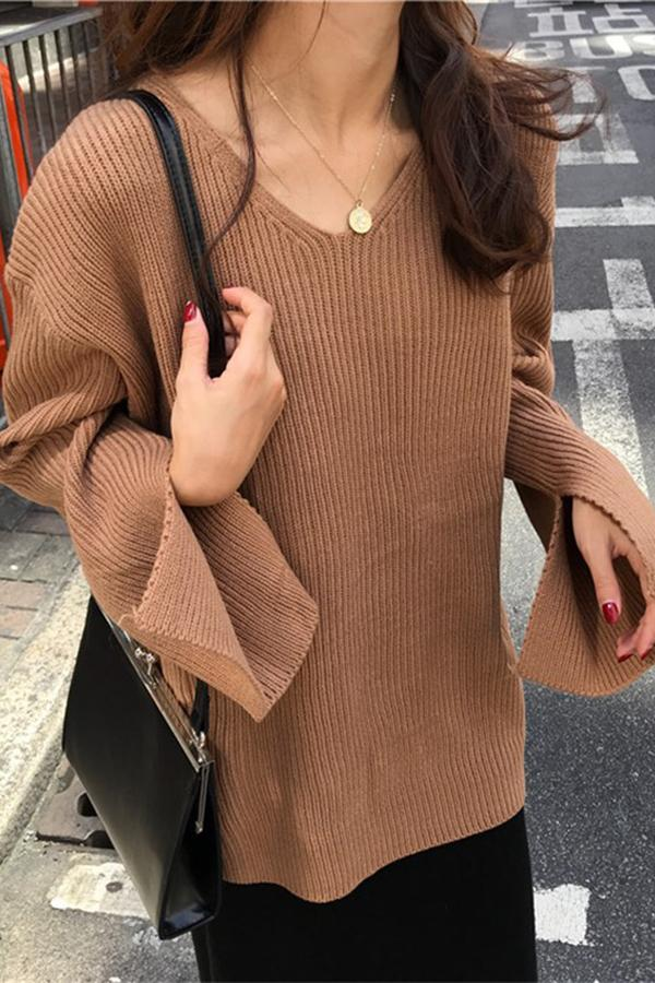 Fashion Horn Sleeve   Thickened Loose Knitted Sweater Camel one size