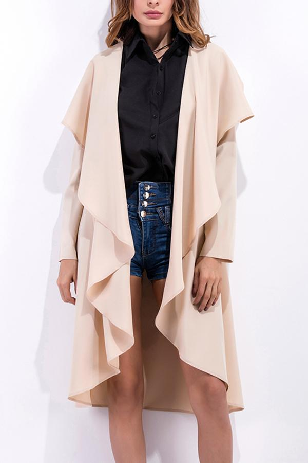 Fashion Asymmetrical Collar Long Sleeve Plain Trench Coats Apricot s