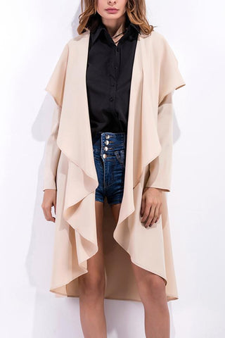 Image of Fashion Asymmetrical Collar Long Sleeve Plain Trench Coats Apricot s