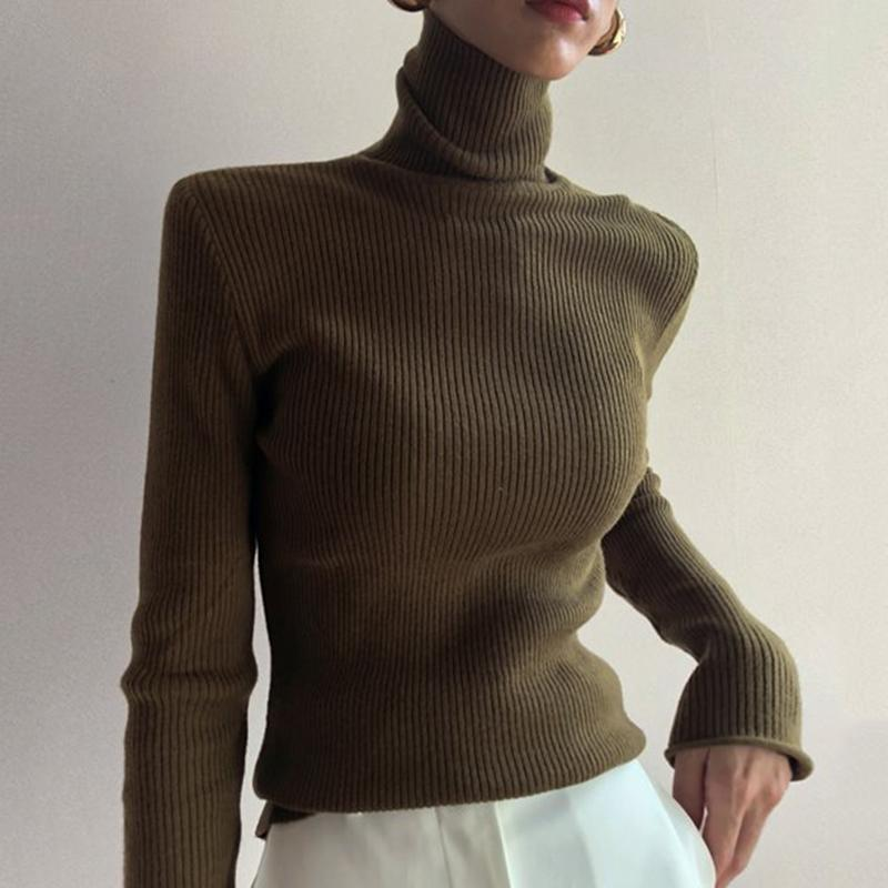 Women's Simple High Collar Solid Color Sweater