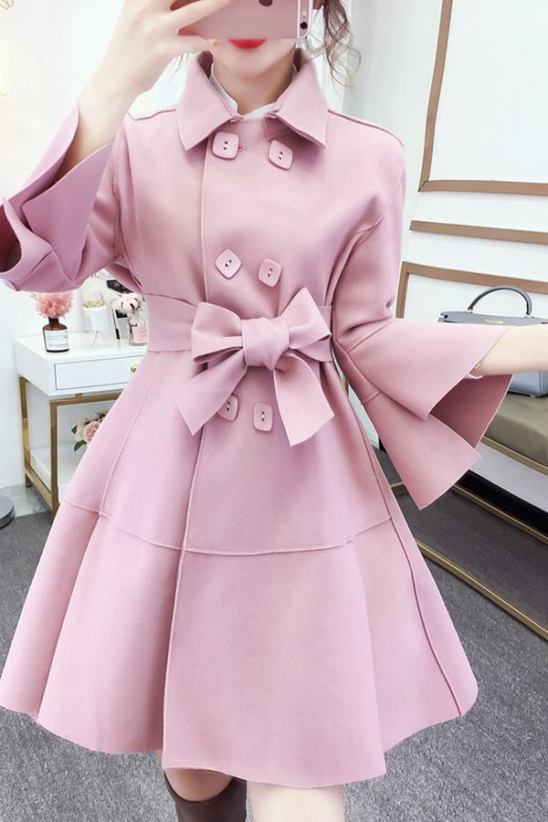 Fashion Pure Colour Bell Sleeve Slim With Woollen Coat Pink s