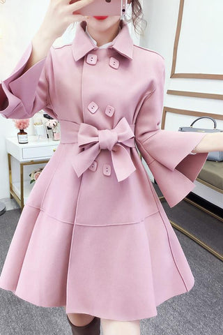 Image of Fashion Pure Colour Bell Sleeve Slim With Woollen Coat Pink s