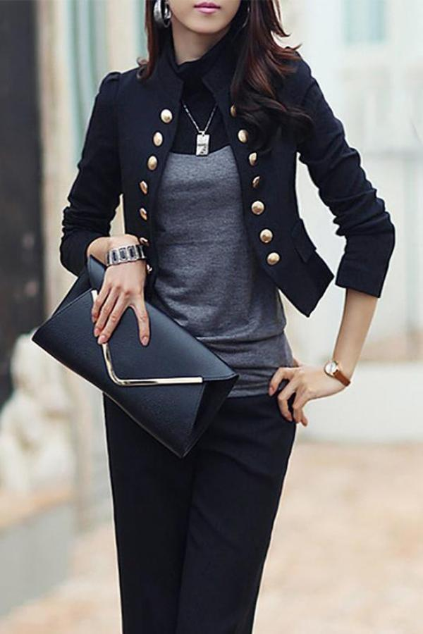 Casual Long Sleeve Pure Colour Slim Small Suit Black s