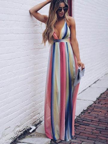Image of Deep V-neck Backless Gradient Maxi Dress XL