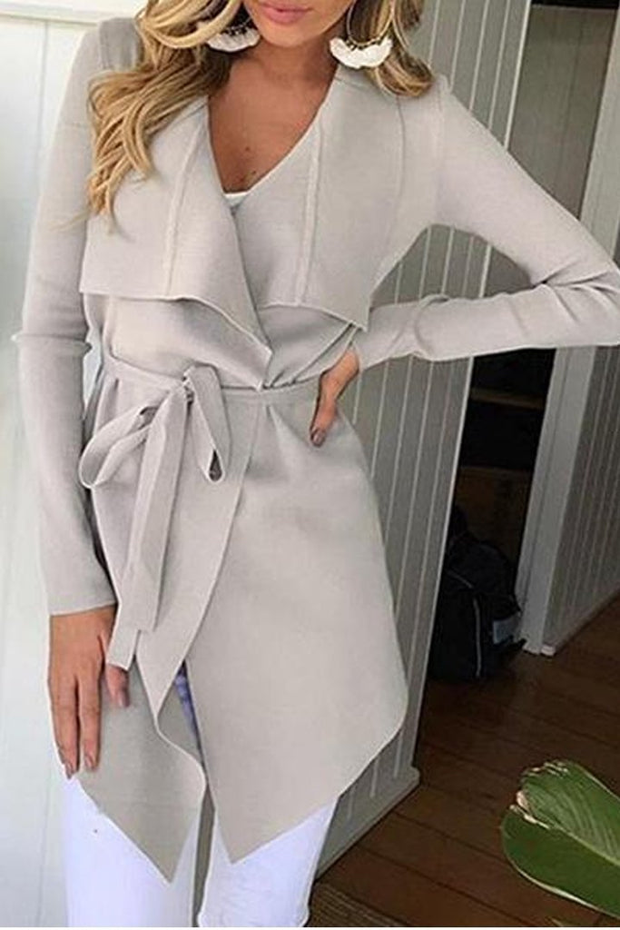 Fashion Lapel Long Sleeve Belt Asymmetrical Hem Coat Pink m