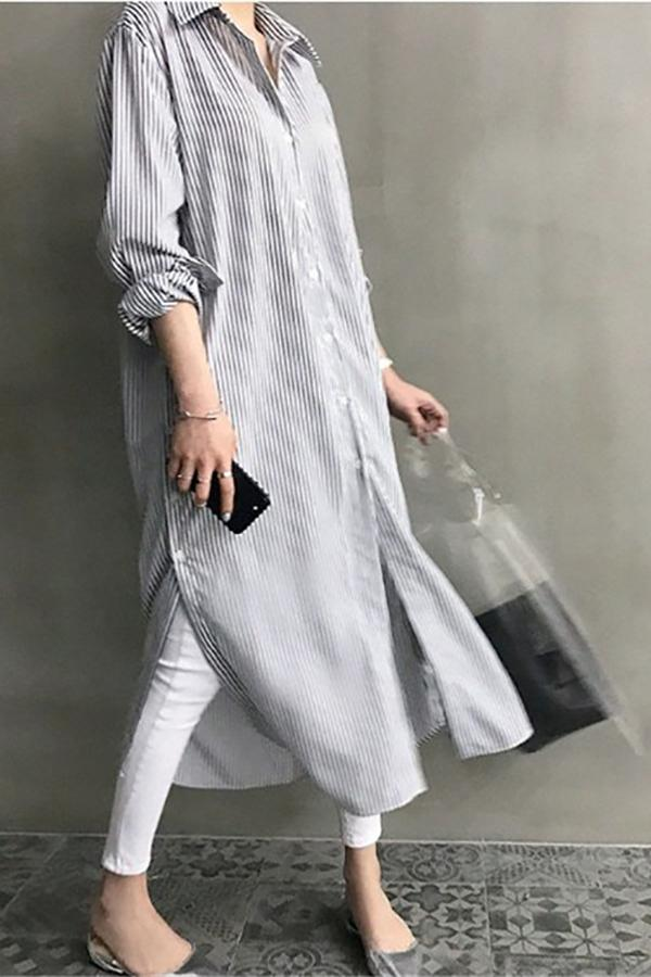 Fashion Casual Long Sleeved Striped Loose Shirt Maxi Dress Stripe s