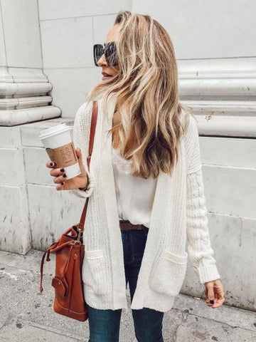 White Long Sleeves Cardigan Top WHITE L