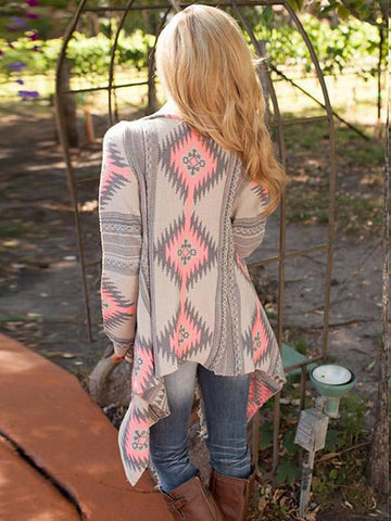 Printed Knitting Sweater Cardigans Tops PINK L