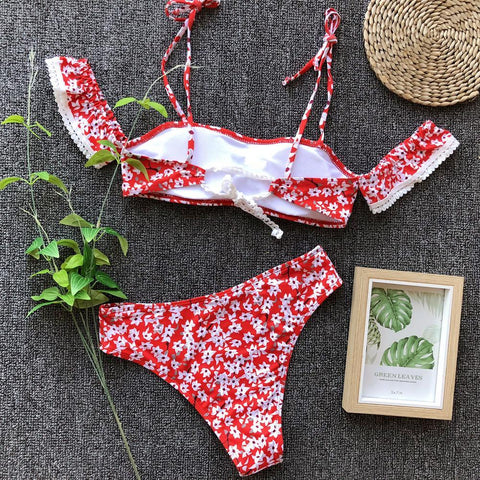 Image of Sexy Floral Print Bikini Split Swimsuit Red l