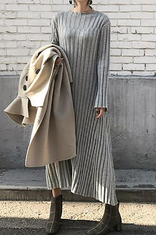 Image of Casual Sexy Medium length loose Knitted Maxi dress Gray one size