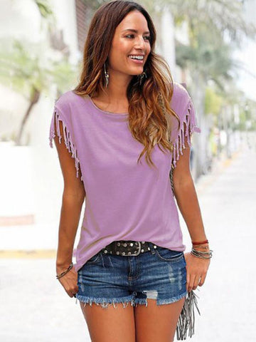 Image of Short-sleeved Round Neck Tassels Cotton T-Shirt 8 Colors KHAKI M