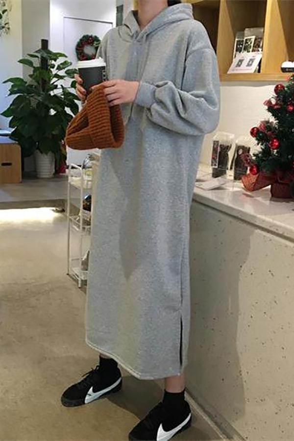 Fashion Pure Color Long Loose Hoodies Maxi Dress Gray one size