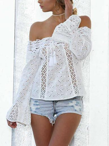 Lace Off Shoulder Flared Sleeves Cover-Ups Tops WHITE L