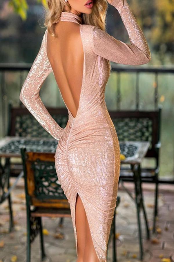 Sequined Sexy Dew Backpack Hip Dress Pink m
