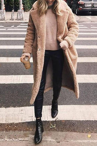 Image of Woolen Long Lapels Solid Color   Coat Brown s
