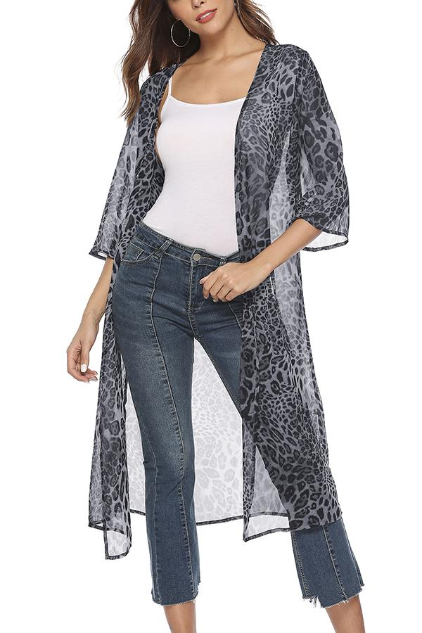 Casual Loose Leopard   Print Chiffon Cardigan Coat White s