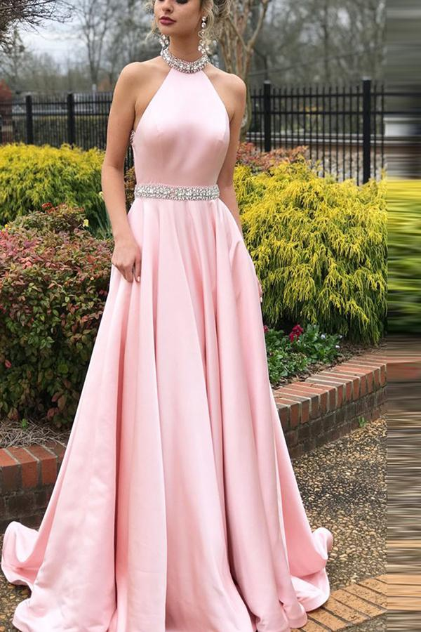 Halter Back Lucy Maxie Gown Pink s