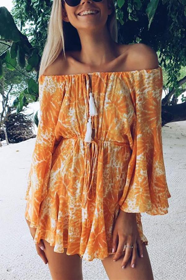 Sexy Word Collar   Off-Shoulder Printed Jumpsuit Dress Same As Photo s