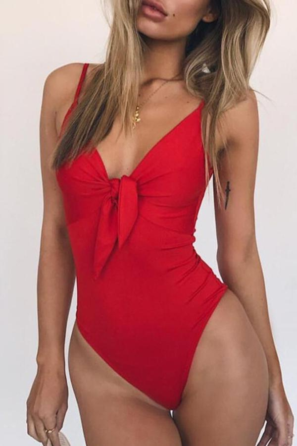 Sexy bikini bow one-piece swimsuit Red s