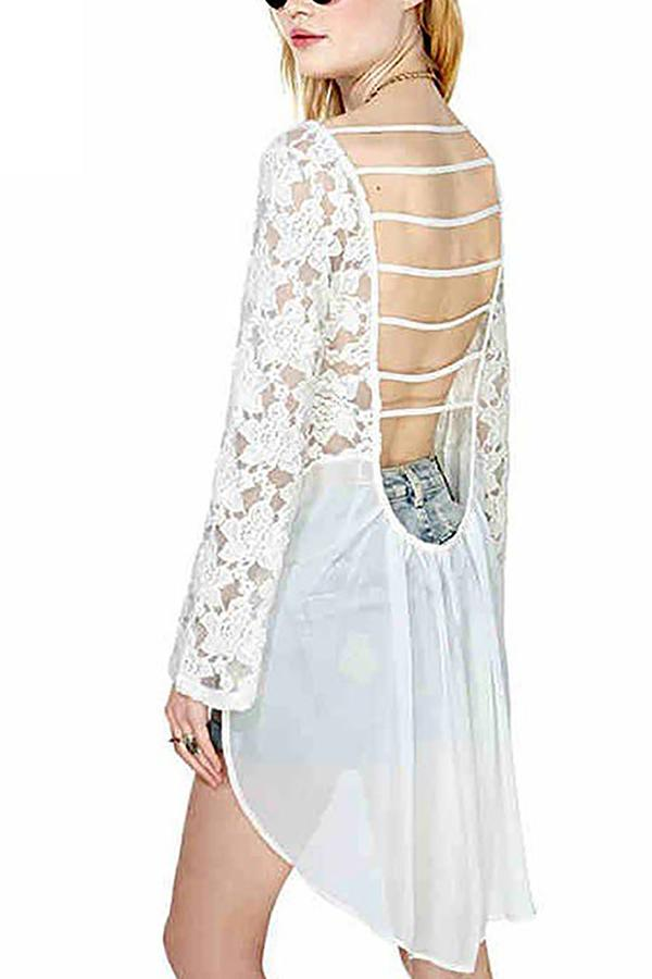 Sexy Lace Bare Back Irregular Hollow Out Shirt Same As Photo xs