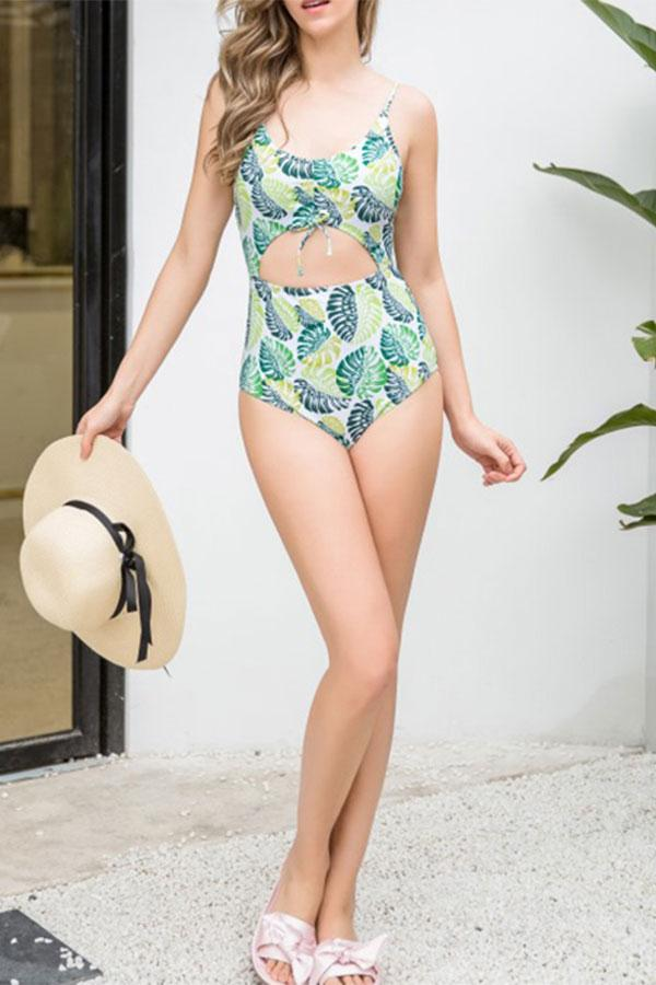 Sexy bikini leaf print one-piece swimsuit Same As Photo xl