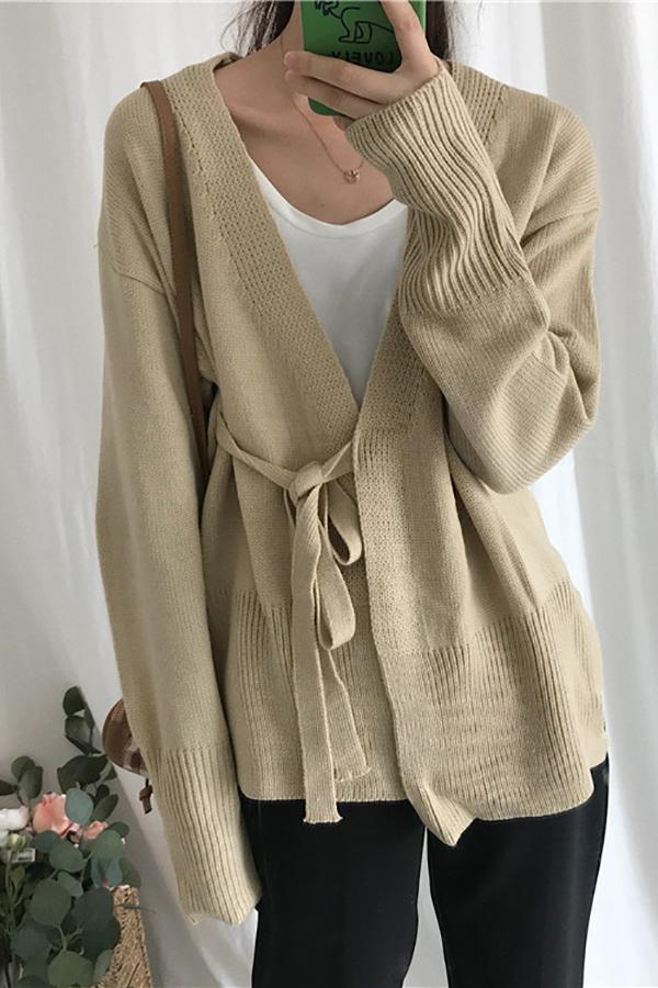 Fashion Long Sleeve Thick Frenulum Knitted Cardigan Gray one size
