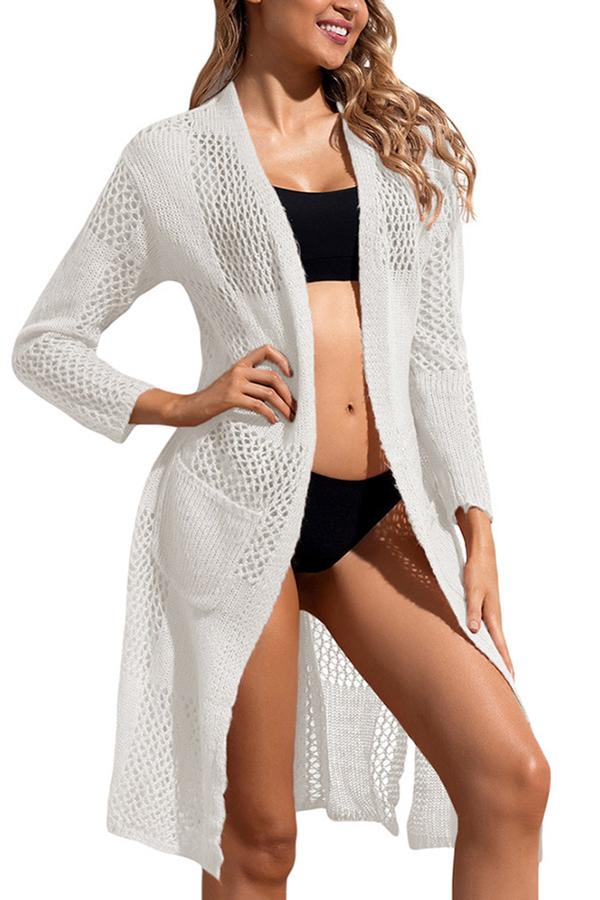 Beach blouse knit long sleeve cardigan White one size