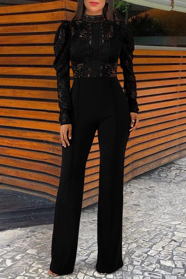 Lace Stand Collar Long Sleeve   Jumpsuit Black s