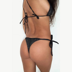 Women's Sexy String Triangle Bag Special Fabric Split Bathing Suit Black m
