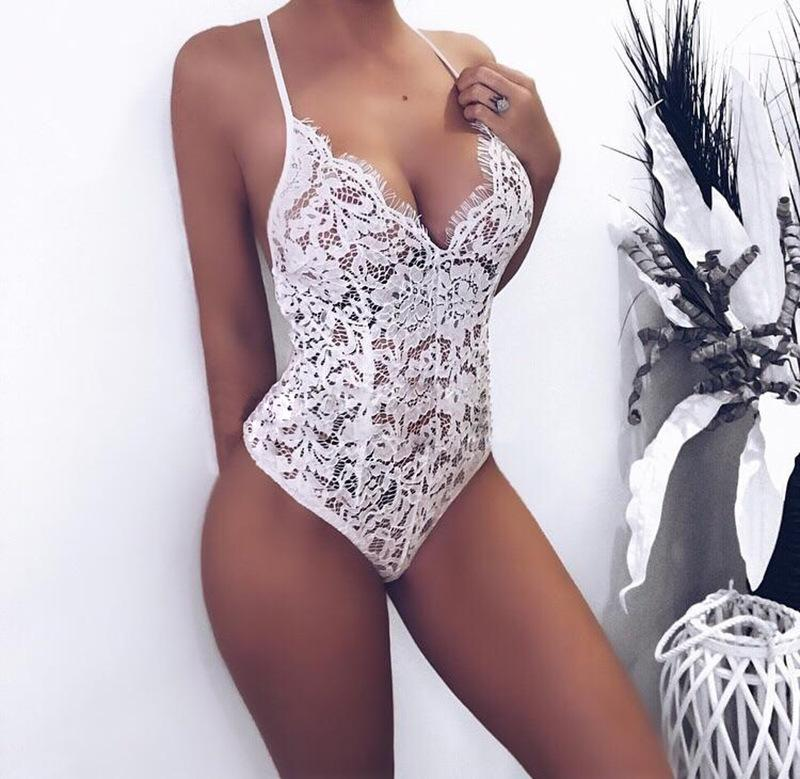 Casual Sexy V-Neck   Slingback Lace Jumpsuit White xl