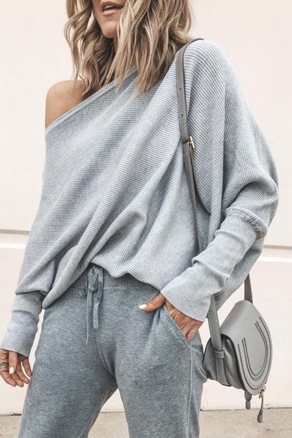 Sexy Pure Colour   Sloping Shoulder Bat Sleeve Sweater Gray s