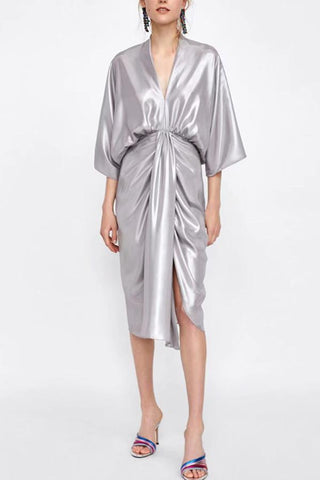 Image of Metal Department Wasit Maxi Dress silver s
