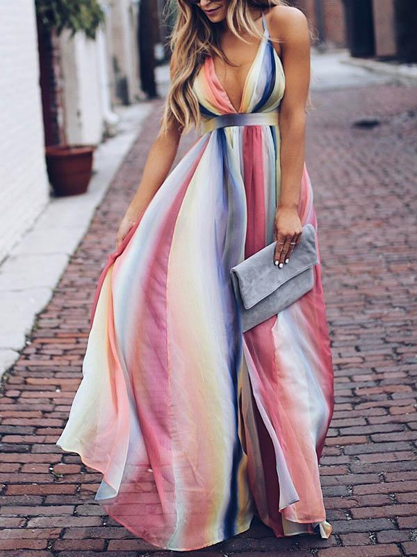 Deep V-neck Backless Gradient Maxi Dress S