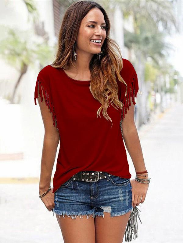Short-sleeved Round Neck Tassels Cotton T-Shirt 8 Colors RED XL