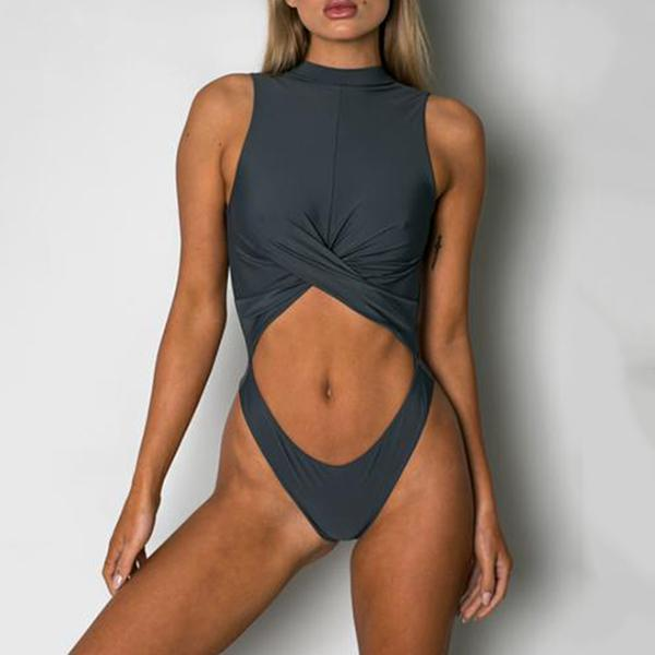 Sexy solid color bikini belly navel one-piece swimsuit Gray s