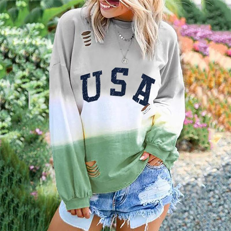 Round neck hole print long sleeve t-shirt