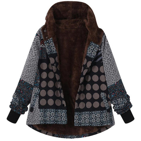 Image of Casual Plaid Print Hooded Jacket Black l