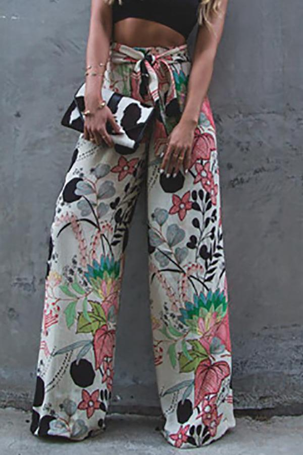 Fashion Print Wide Leg   Elastic Waist  Pants detail s