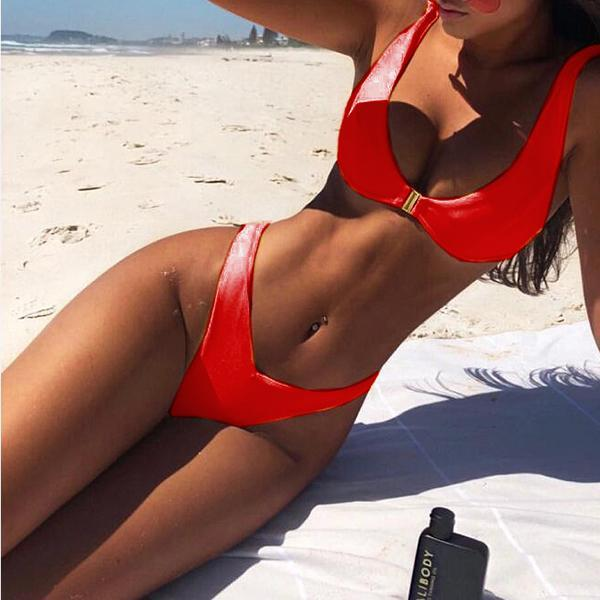 Solid color gold buckle bikini split swimsuit Red s