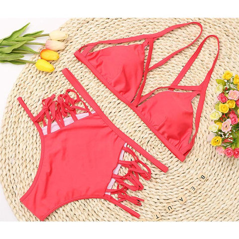 Image of High Waist Strap Sexy Bikini Watermelon Red m