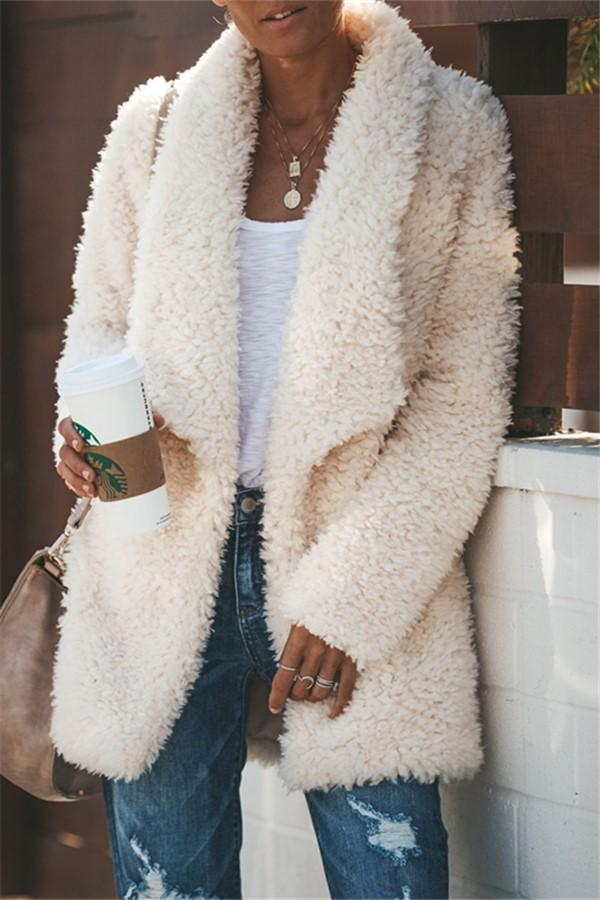 Fashion Casual Long Sleeved Half-Open Plush Cardigan White s