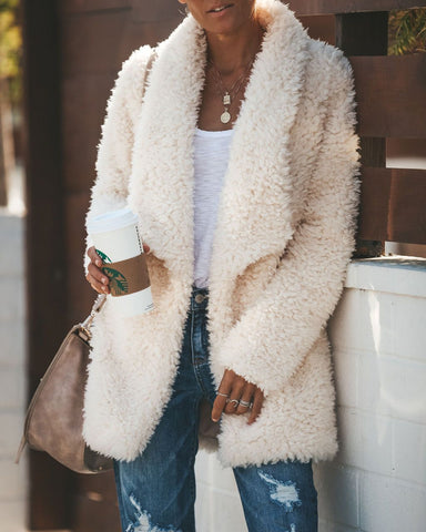 Image of Fashion Casual Long Sleeved Half-Open Plush Cardigan White m