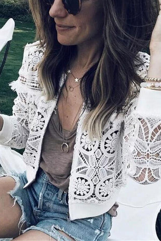 Image of Fashion Sexy Hollow   Lace Cardigan Jacket Coat White xl