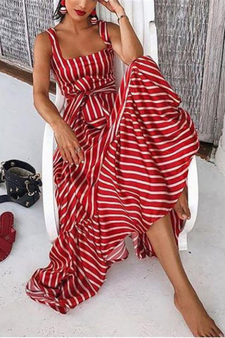 Vintage Striped  Maxi Dresses red s
