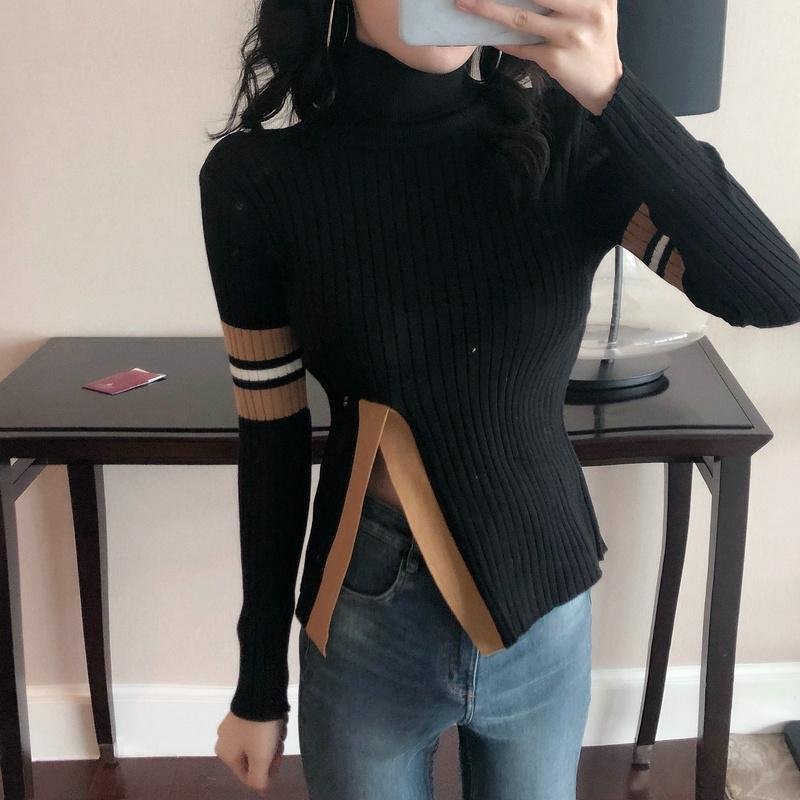 Casual Pure Color High  Collar Shown Thin Split Knitted Sweater