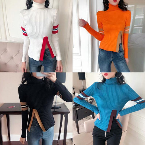 Image of Casual Pure Color High  Collar Shown Thin Split Knitted Sweater Black one size