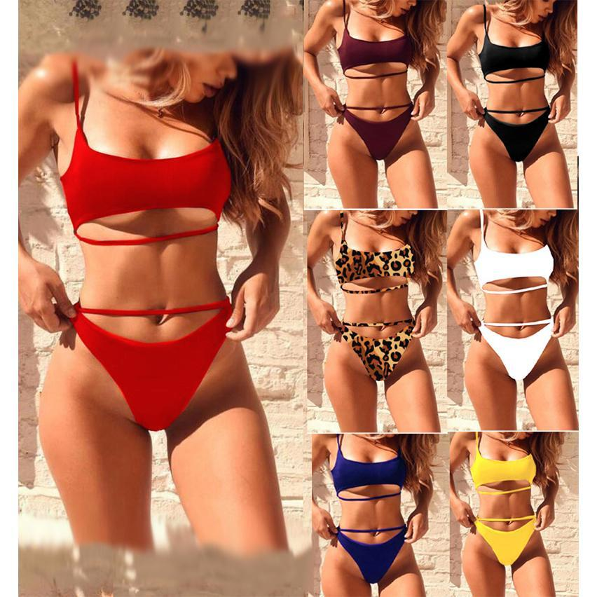 Sexy bikini solid color split swimsuit Red s