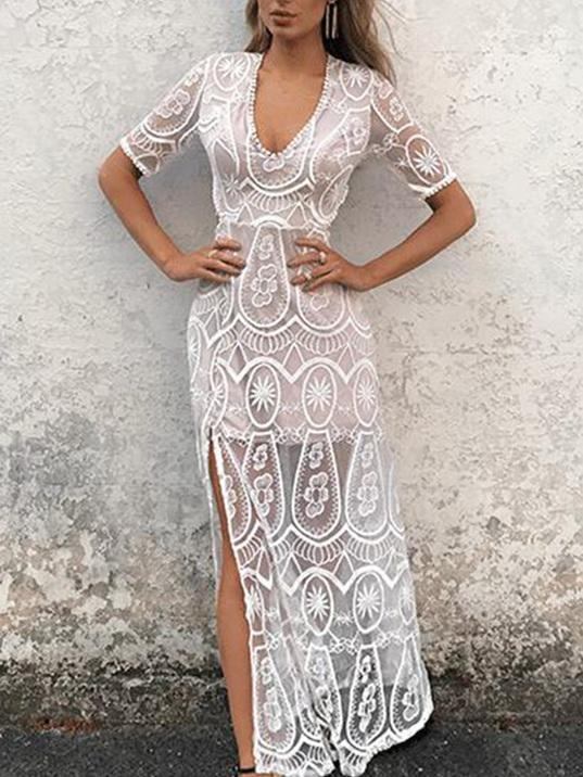 Crocheting Hollow Split-side Maxi Dresses WHITE S