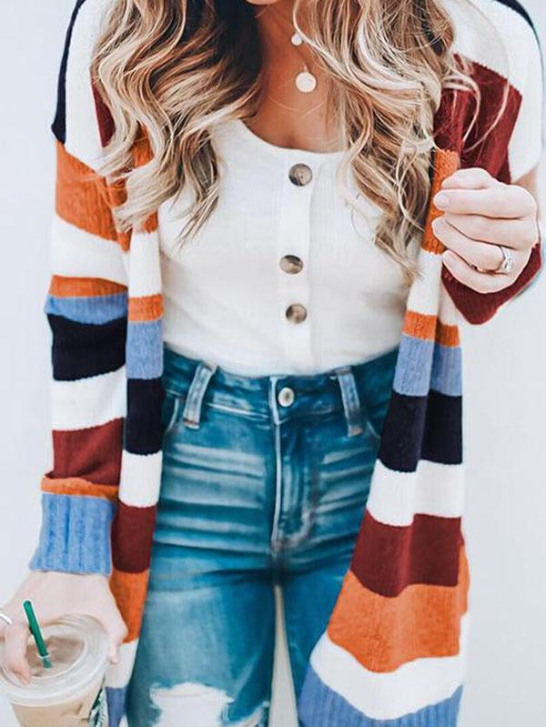 Striped Knit Sweater Cardigans Tops SAME AS PICTURES S