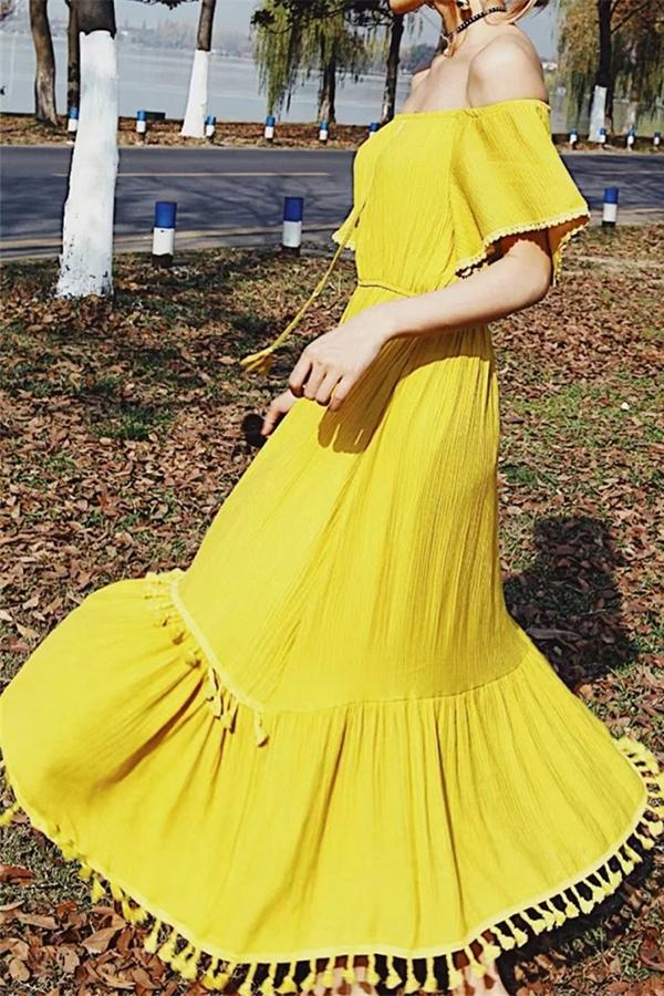 Sexy One Shoulder Fringed Dress Yellow s